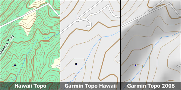 Comparison of Hawaii Topo to Garmin Topos