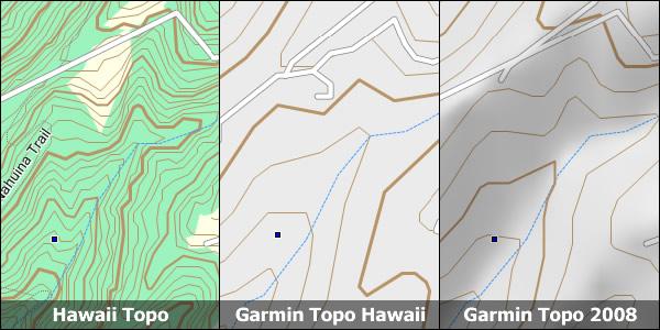 comparison of hawaii topo to garmin topos