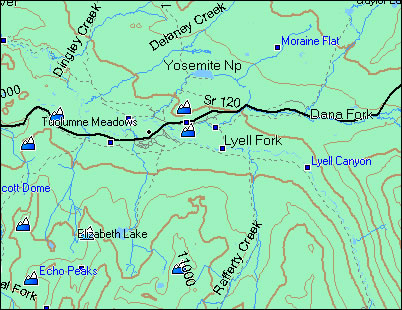 Yosemite Topo Map Yosemite Topo Garmin Compatible Map   GPSFileDepot